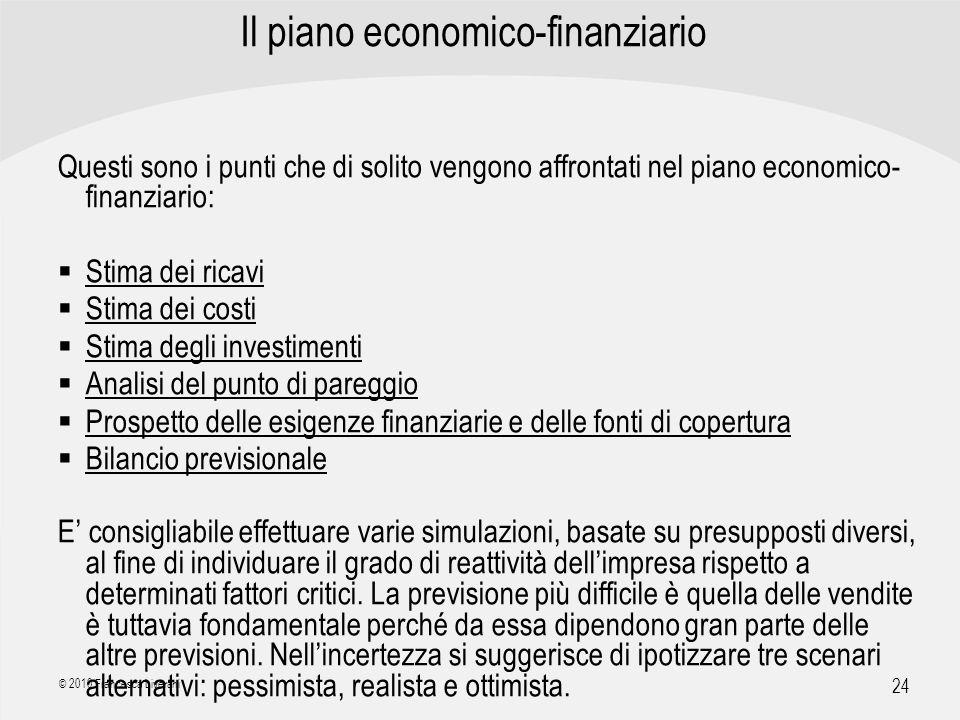 | R a g i o n e S o c i a l e | 24 © 2010 Francesca Liverani Il piano economico-finanziario Questi sono i punti che di solito vengono affrontati nel p