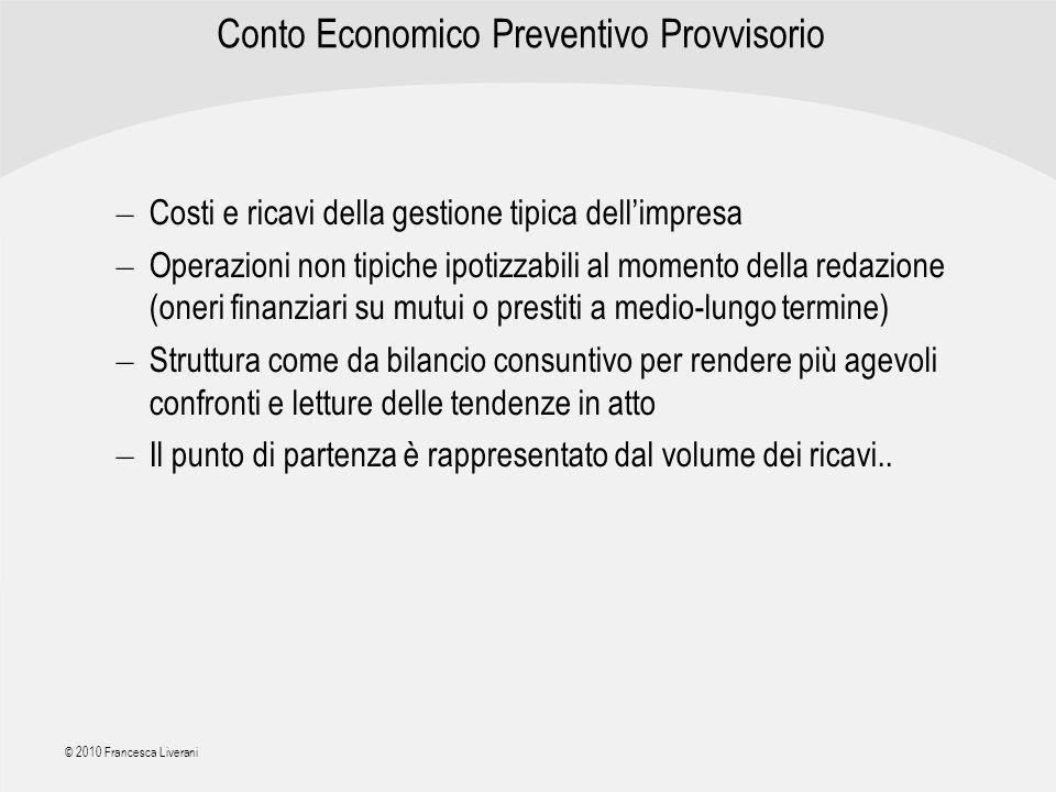 | R a g i o n e S o c i a l e | © 2010 Francesca Liverani Conto Economico Preventivo Provvisorio – Costi e ricavi della gestione tipica dellimpresa –