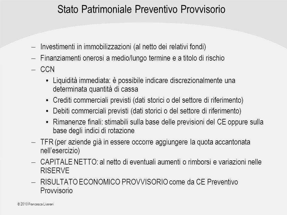 | R a g i o n e S o c i a l e | © 2010 Francesca Liverani Stato Patrimoniale Preventivo Provvisorio – Investimenti in immobilizzazioni (al netto dei r
