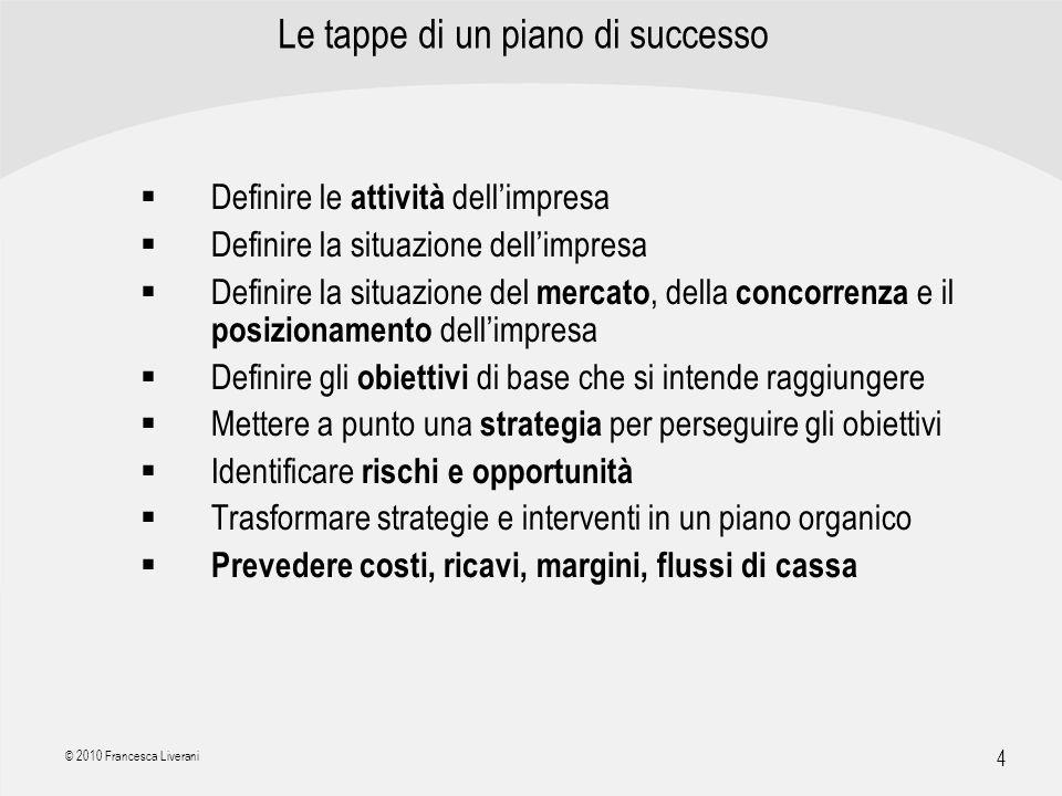 | R a g i o n e S o c i a l e | 4 © 2010 Francesca Liverani Le tappe di un piano di successo Definire le attività dellimpresa Definire la situazione d