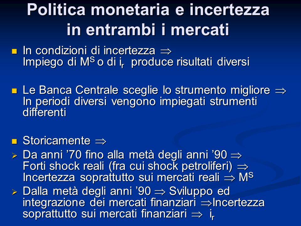 Politica monetaria e incertezza in entrambi i mercati In condizioni di incertezza Impiego di M S o di i r produce risultati diversi In condizioni di i