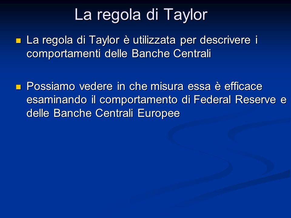 La regola di Taylor è utilizzata per descrivere i comportamenti delle Banche Centrali La regola di Taylor è utilizzata per descrivere i comportamenti