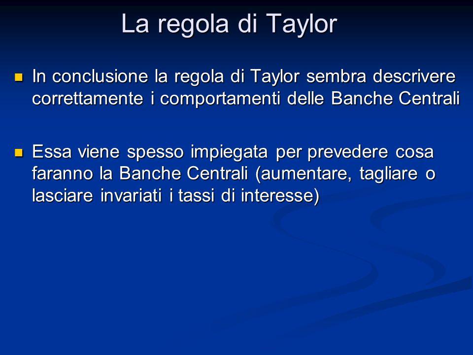 In conclusione la regola di Taylor sembra descrivere correttamente i comportamenti delle Banche Centrali In conclusione la regola di Taylor sembra des
