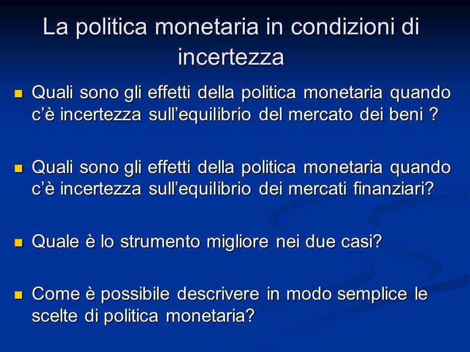 Introduzione sullincertezza Introduzione sullincertezza Politica monetaria e incertezza nel mercato dei beni Politica monetaria e incertezza nel mercato dei beni Politica monetaria e incertezza nei mercati finanziari Politica monetaria e incertezza nei mercati finanziari Le regola di Taylor Le regola di Taylor La politica monetaria in condizioni di incertezza