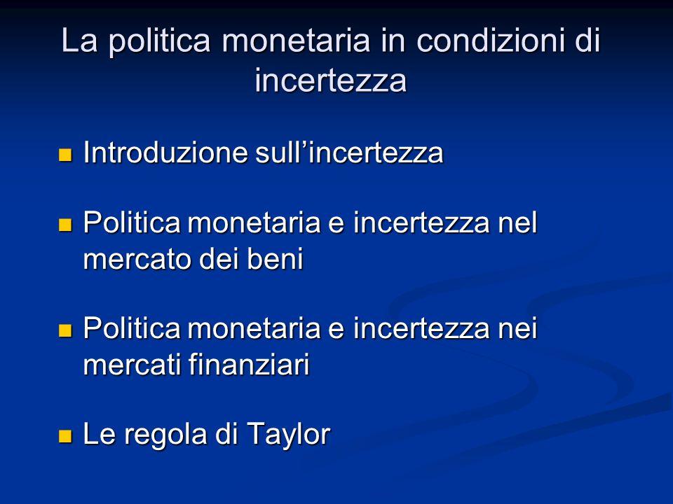 Politica monetaria e incertezza nei mercati finanziari Assumiamo che vi sia incertezza nei mercati finanziari Assumiamo che vi sia incertezza nei mercati finanziari Vediamo gli effetti dellimpiego di offerta di moneta e tasso di interesse di riferimento Vediamo gli effetti dellimpiego di offerta di moneta e tasso di interesse di riferimento Iniziamo utilizzando lofferta di moneta Iniziamo utilizzando lofferta di moneta Offerta di moneta IS-LM Offerta di moneta IS-LM