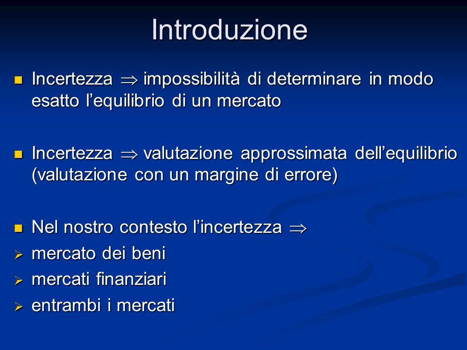 Introduzione Incertezza impossibilità di determinare in modo esatto lequilibrio di un mercato Incertezza impossibilità di determinare in modo esatto l