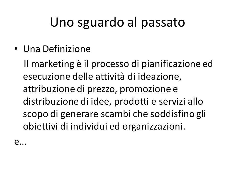 Uno sguardo al passato Una Definizione Il marketing è il processo di pianificazione ed esecuzione delle attività di ideazione, attribuzione di prezzo,