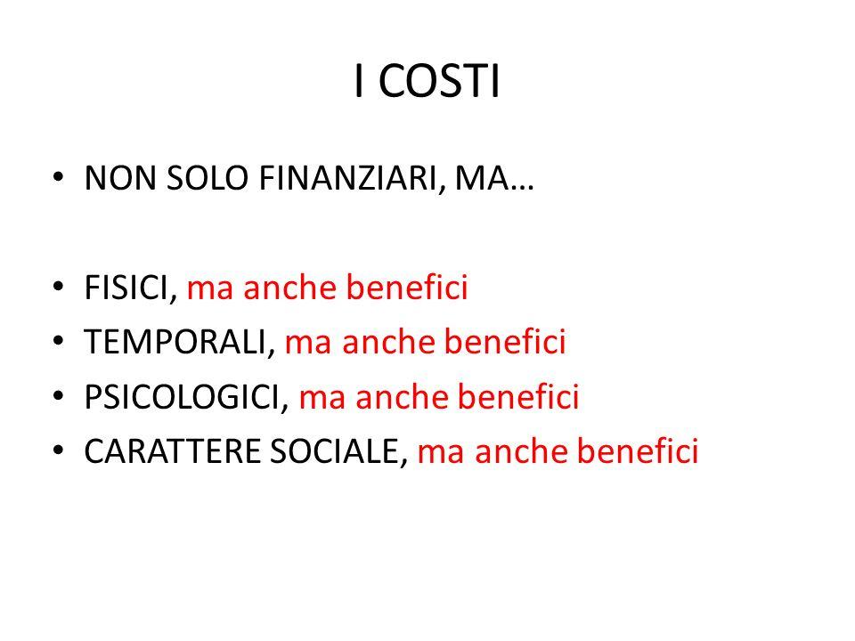 I COSTI NON SOLO FINANZIARI, MA… FISICI, ma anche benefici TEMPORALI, ma anche benefici PSICOLOGICI, ma anche benefici CARATTERE SOCIALE, ma anche ben