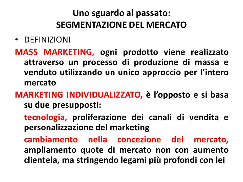 Uno sguardo al passato: SEGMENTAZIONE DEL MERCATO DEFINIZIONI MASS MARKETING, ogni prodotto viene realizzato attraverso un processo di produzione di m