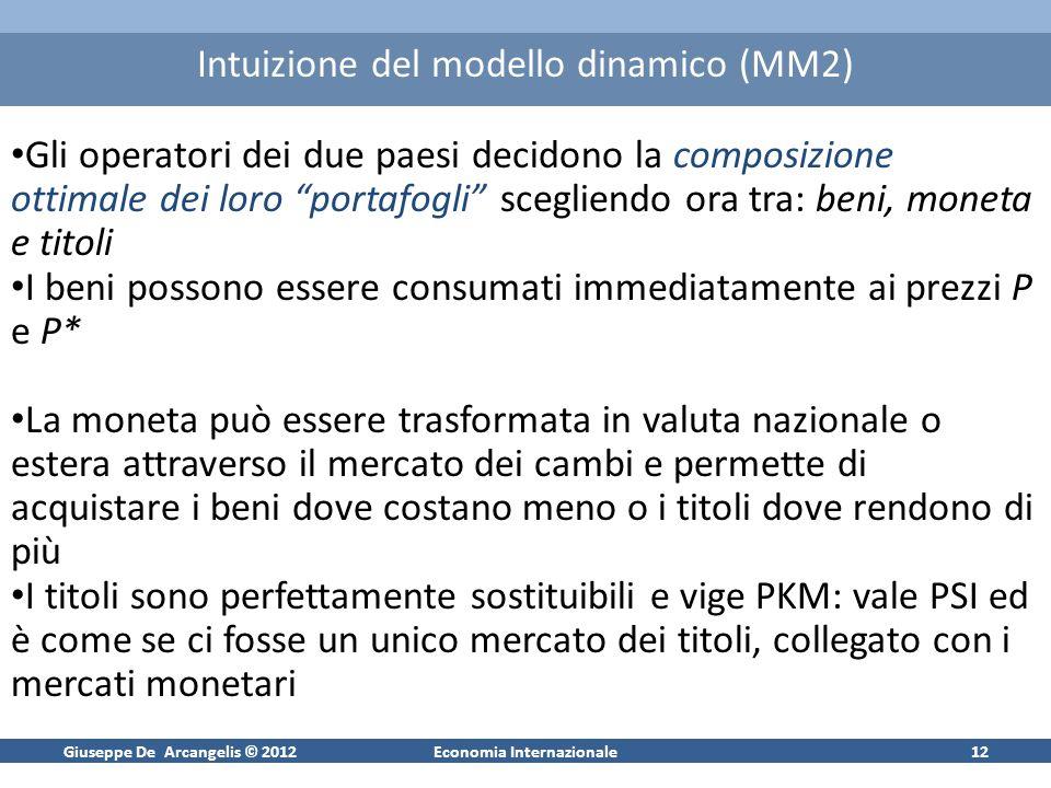 Giuseppe De Arcangelis © 2012Economia Internazionale12 Intuizione del modello dinamico (MM2) Gli operatori dei due paesi decidono la composizione otti
