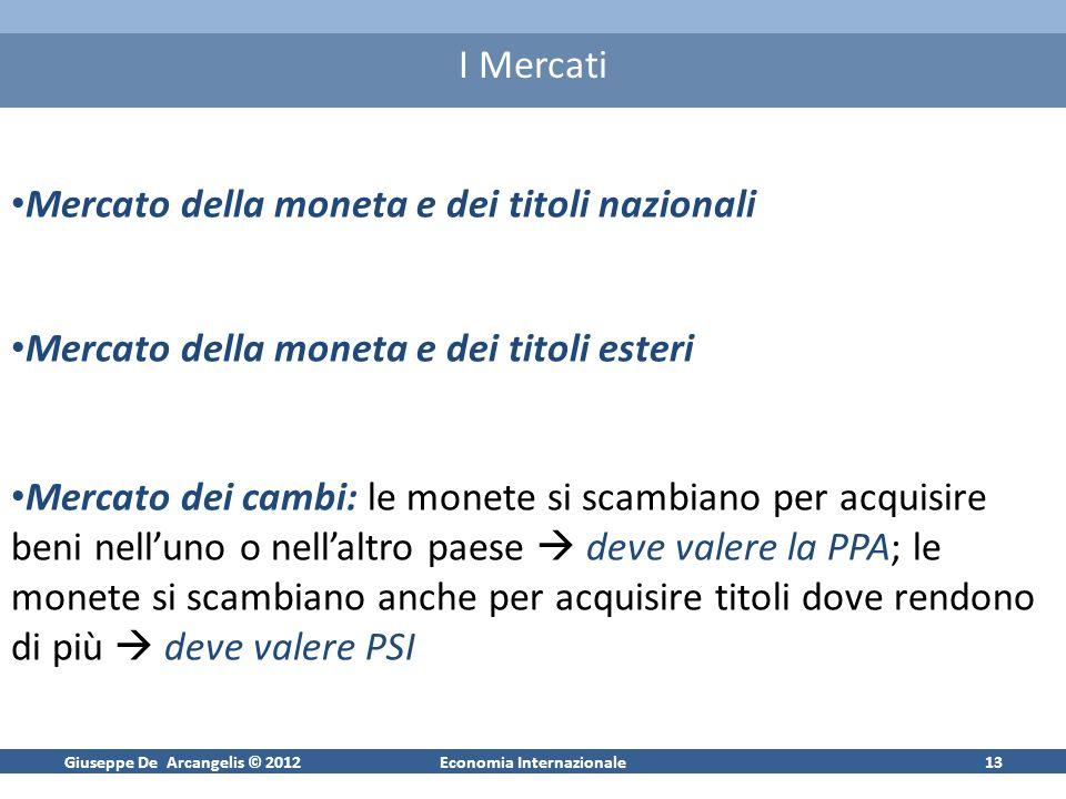 Giuseppe De Arcangelis © 2012Economia Internazionale13 I Mercati Mercato della moneta e dei titoli nazionali Mercato della moneta e dei titoli esteri