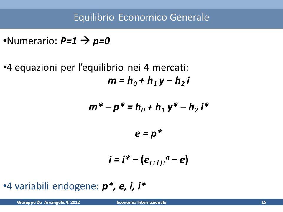 Giuseppe De Arcangelis © 2012Economia Internazionale15 Equilibrio Economico Generale Numerario: P=1 p=0 4 equazioni per lequilibrio nei 4 mercati: m =