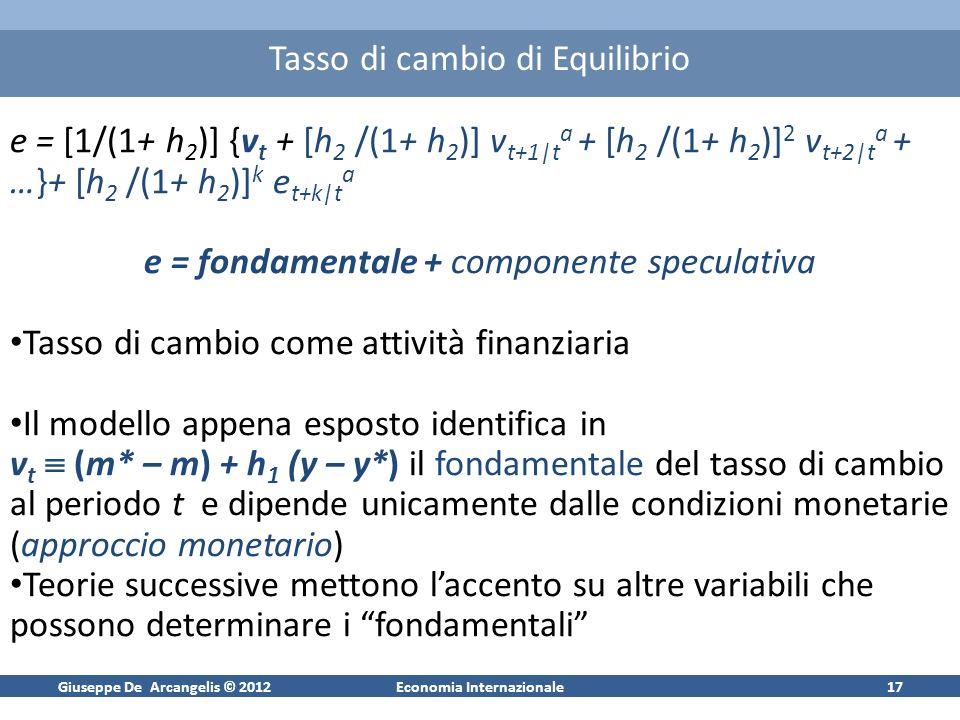 Giuseppe De Arcangelis © 2012Economia Internazionale17 Tasso di cambio di Equilibrio e = [1/(1+ h 2 )] {v t + [h 2 /(1+ h 2 )] v t+1|t a + [h 2 /(1+ h