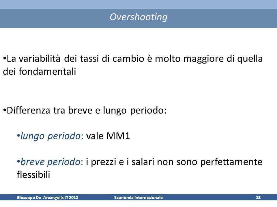 Giuseppe De Arcangelis © 2012Economia Internazionale18 Overshooting La variabilità dei tassi di cambio è molto maggiore di quella dei fondamentali Dif