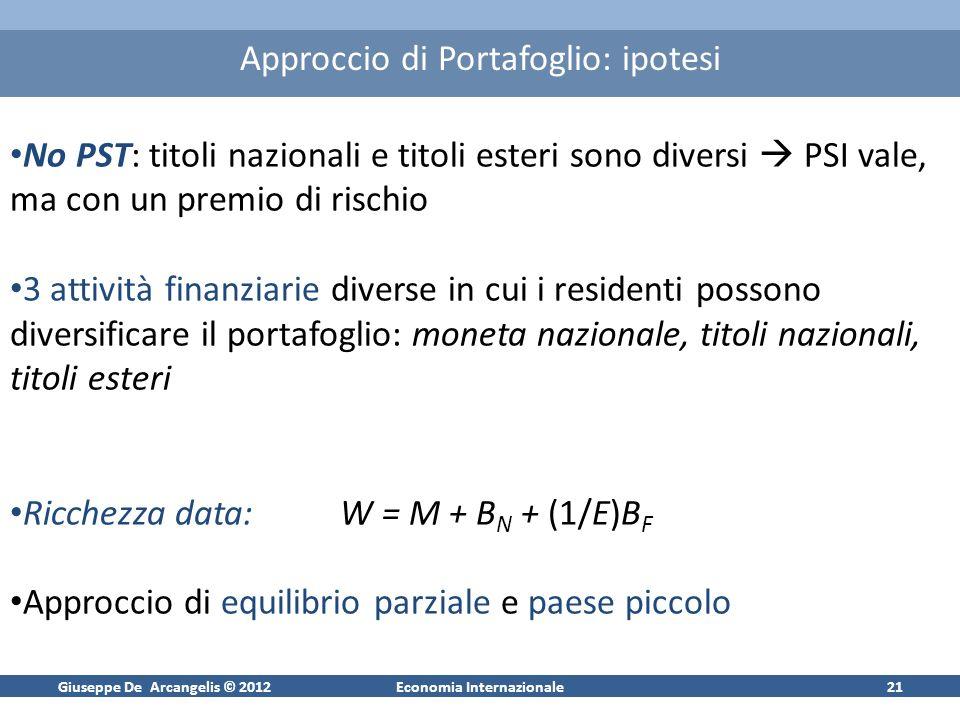 Giuseppe De Arcangelis © 2012Economia Internazionale21 Approccio di Portafoglio: ipotesi No PST: titoli nazionali e titoli esteri sono diversi PSI val