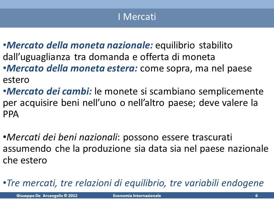 Giuseppe De Arcangelis © 2012Economia Internazionale17 Tasso di cambio di Equilibrio e = [1/(1+ h 2 )] {v t + [h 2 /(1+ h 2 )] v t+1|t a + [h 2 /(1+ h 2 )] 2 v t+2|t a + …}+ [h 2 /(1+ h 2 )] k e t+k|t a e = fondamentale + componente speculativa Tasso di cambio come attività finanziaria Il modello appena esposto identifica in v t (m* – m) + h 1 (y – y*) il fondamentale del tasso di cambio al periodo t e dipende unicamente dalle condizioni monetarie (approccio monetario) Teorie successive mettono laccento su altre variabili che possono determinare i fondamentali