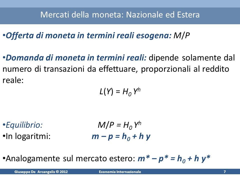 Giuseppe De Arcangelis © 2012Economia Internazionale7 Mercati della moneta: Nazionale ed Estera Offerta di moneta in termini reali esogena: M/P Domand