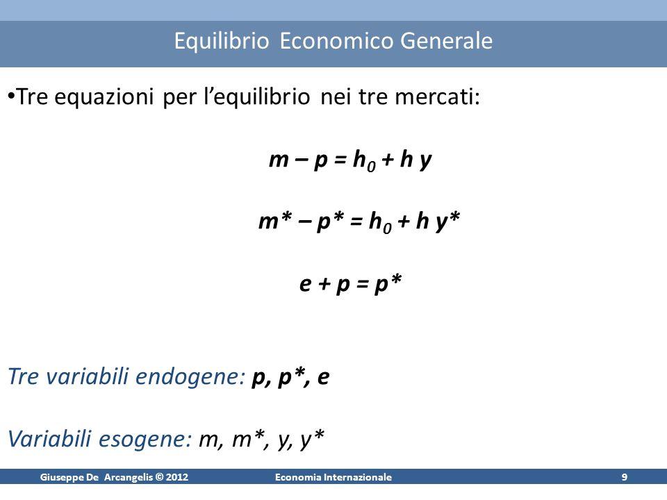 Giuseppe De Arcangelis © 2012Economia Internazionale9 Equilibrio Economico Generale Tre equazioni per lequilibrio nei tre mercati: m – p = h 0 + h y m