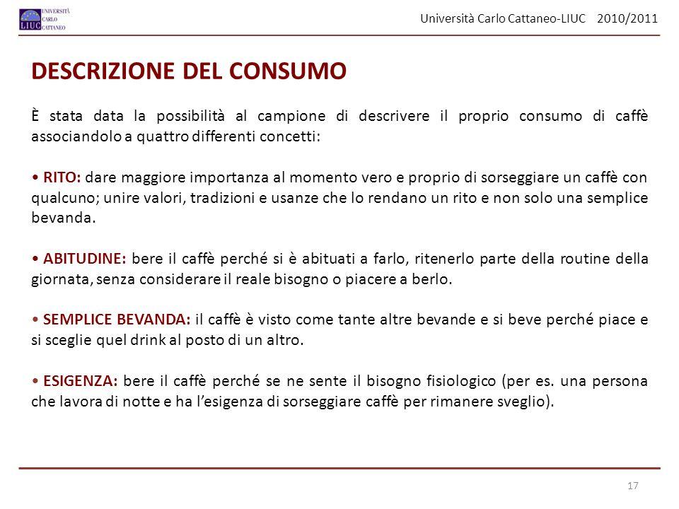 Università Carlo Cattaneo-LIUC 2010/2011 È stata data la possibilità al campione di descrivere il proprio consumo di caffè associandolo a quattro diff