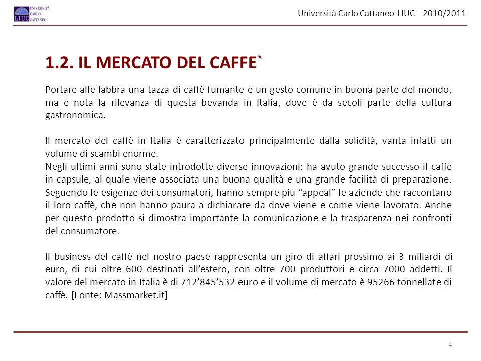 Università Carlo Cattaneo-LIUC 2010/2011 1.2. IL MERCATO DEL CAFFE` Portare alle labbra una tazza di caffè fumante è un gesto comune in buona parte de