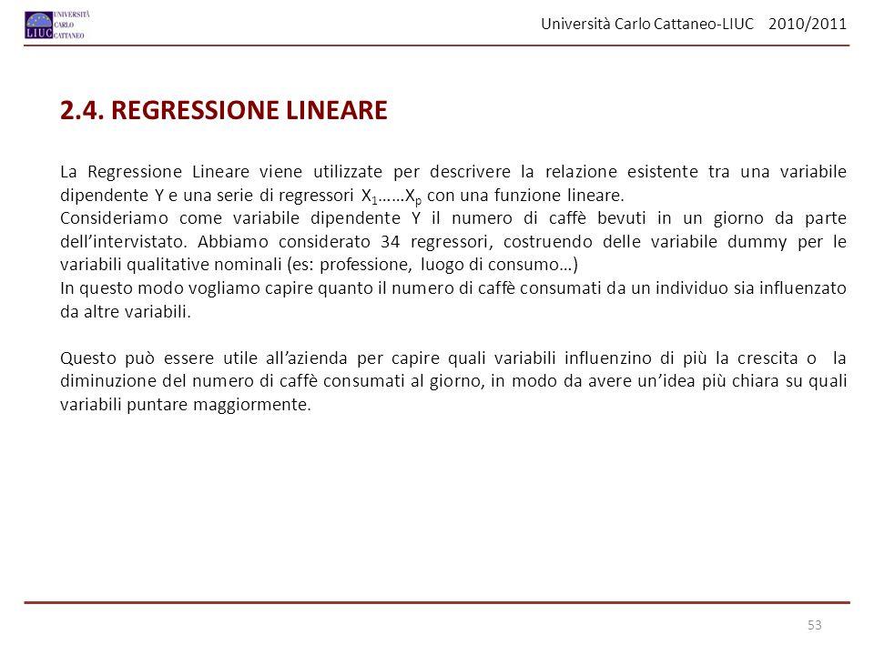 Università Carlo Cattaneo-LIUC 2010/2011 53 2.4. REGRESSIONE LINEARE La Regressione Lineare viene utilizzate per descrivere la relazione esistente tra