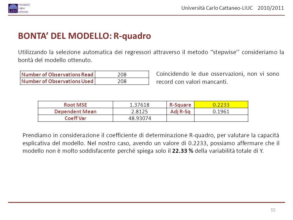 Università Carlo Cattaneo-LIUC 2010/2011 55 Utilizzando la selezione automatica dei regressori attraverso il metodo stepwise consideriamo la bontà del