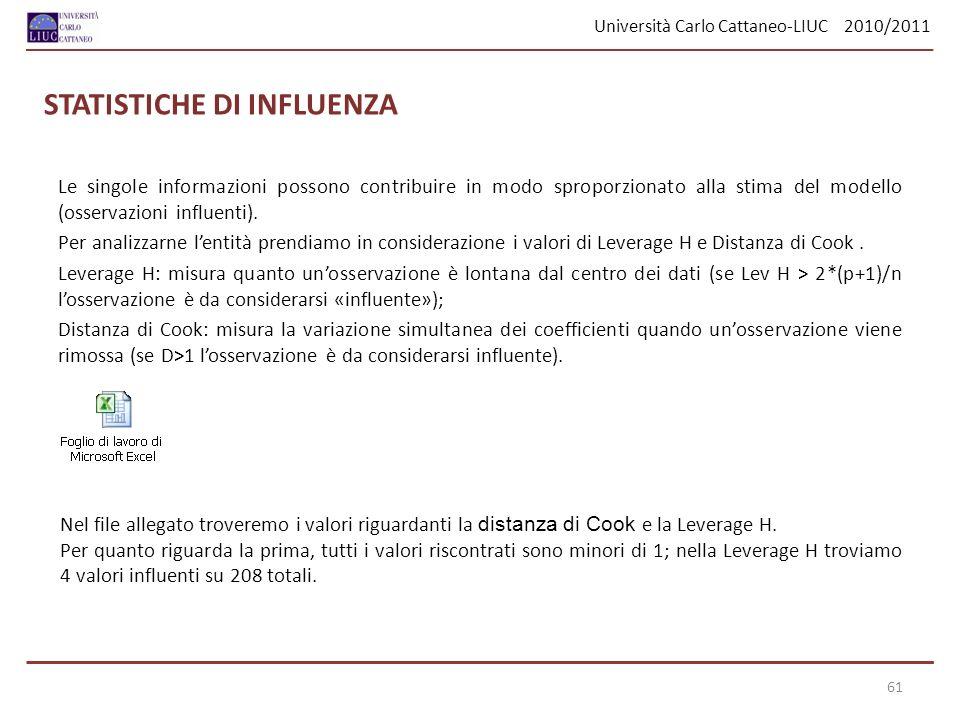 Università Carlo Cattaneo-LIUC 2010/2011 61 STATISTICHE DI INFLUENZA Le singole informazioni possono contribuire in modo sproporzionato alla stima del