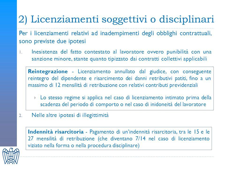 3) Licenziamenti oggettivi o economici Per i licenziamenti legati allattività produttiva, allorganizzazione del lavoro e al suo regolare funzionamento previsto il preventivo esperimento di una rapida procedura di conciliazione davanti alle Direzioni territoriali del lavoro, durante la quale potranno essere presenti anche i rappresentanti sindacali Nel caso il giudice accerti linesistenza del giustificato motivo oggettivo adotto Il lavoratore può, in ogni caso, provare le ragioni discriminatorie o disciplinari del licenziamento, nel qual caso si applicano le relative tutele previste Tutela obbligatoria, con unindennità risarcitoria onnicomprensiva compresa tra le 15 e le 27 mensilità, tenuto conto di vari criteri