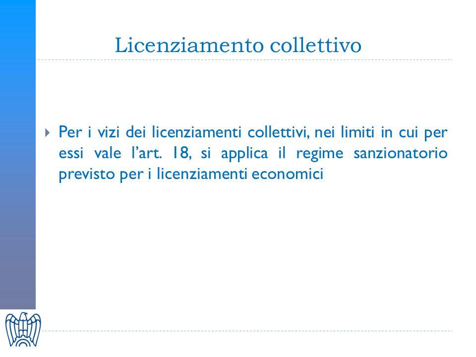 Licenziamento collettivo Per i vizi dei licenziamenti collettivi, nei limiti in cui per essi vale lart.