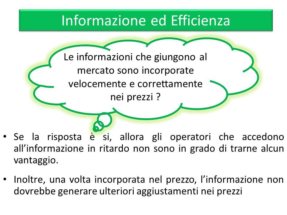 Informazione ed Efficienza Se la risposta è si, allora gli operatori che accedono allinformazione in ritardo non sono in grado di trarne alcun vantagg