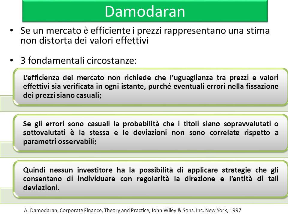 Damodaran Se un mercato è efficiente i prezzi rappresentano una stima non distorta dei valori effettivi 3 fondamentali circostanze: A. Damodaran, Corp