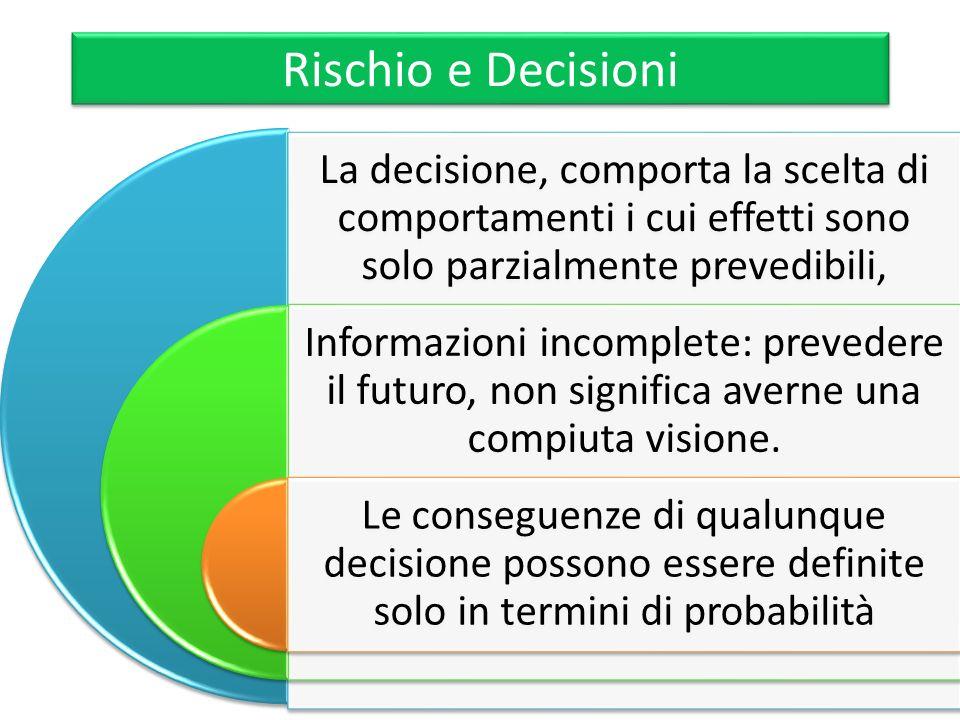 Rischio e Decisioni La decisione, comporta la scelta di comportamenti i cui effetti sono solo parzialmente prevedibili, Informazioni incomplete: preve