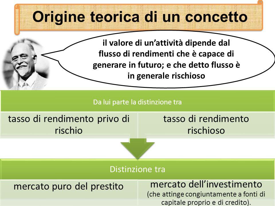 Origine teorica di un concetto il valore di unattività dipende dal flusso di rendimenti che è capace di generare in futuro; e che detto flusso è in ge