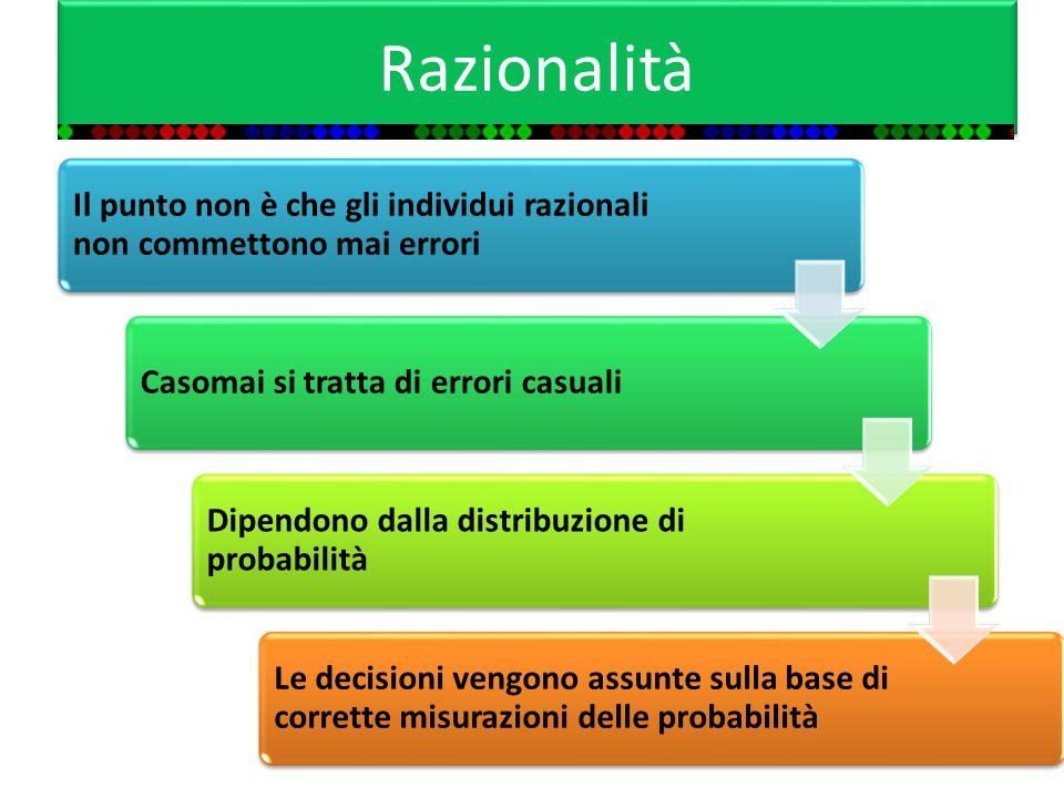 Razionalità Il punto non è che gli individui razionali non commettono mai errori Casomai si tratta di errori casuali Dipendono dalla distribuzione di