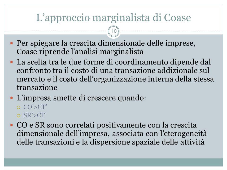 Lapproccio marginalista di Coase Per spiegare la crescita dimensionale delle imprese, Coase riprende lanalisi marginalista La scelta tra le due forme
