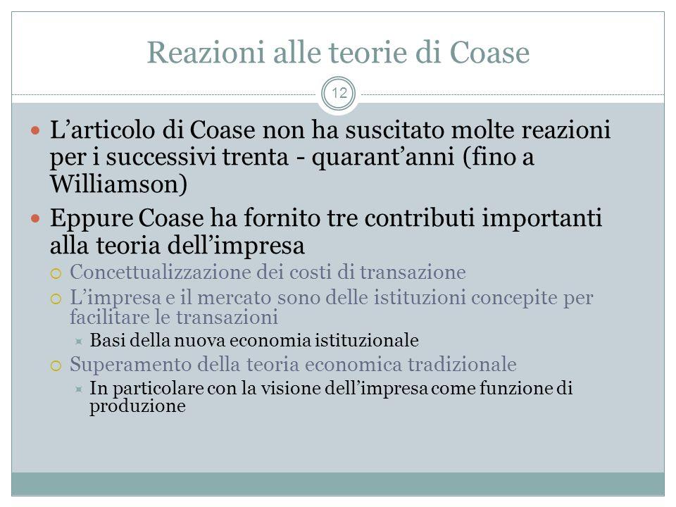 Reazioni alle teorie di Coase Larticolo di Coase non ha suscitato molte reazioni per i successivi trenta - quarantanni (fino a Williamson) Eppure Coas