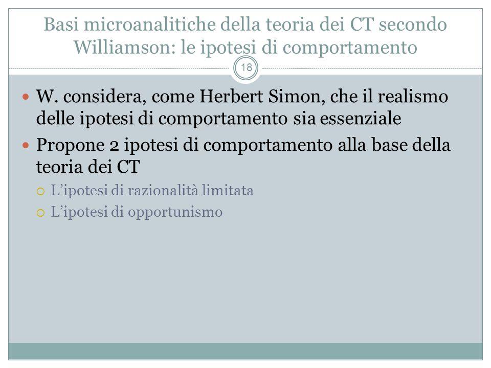 Basi microanalitiche della teoria dei CT secondo Williamson: le ipotesi di comportamento W. considera, come Herbert Simon, che il realismo delle ipote