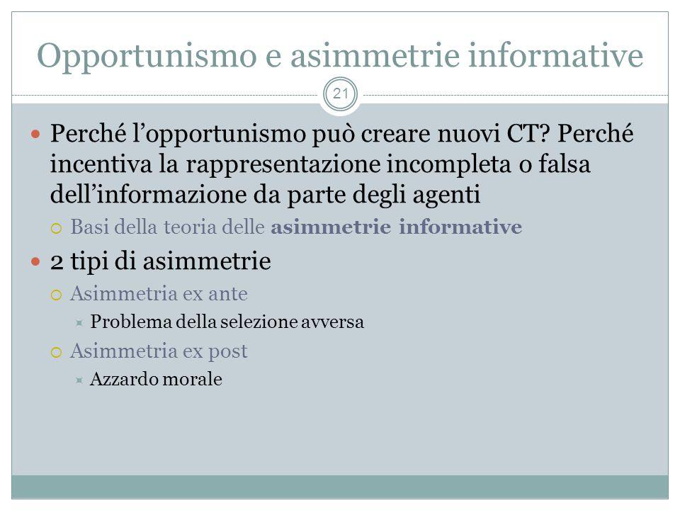 Opportunismo e asimmetrie informative Perché lopportunismo può creare nuovi CT? Perché incentiva la rappresentazione incompleta o falsa dellinformazio