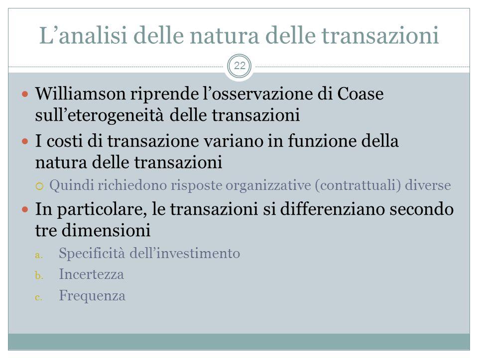Lanalisi delle natura delle transazioni Williamson riprende losservazione di Coase sulleterogeneità delle transazioni I costi di transazione variano i
