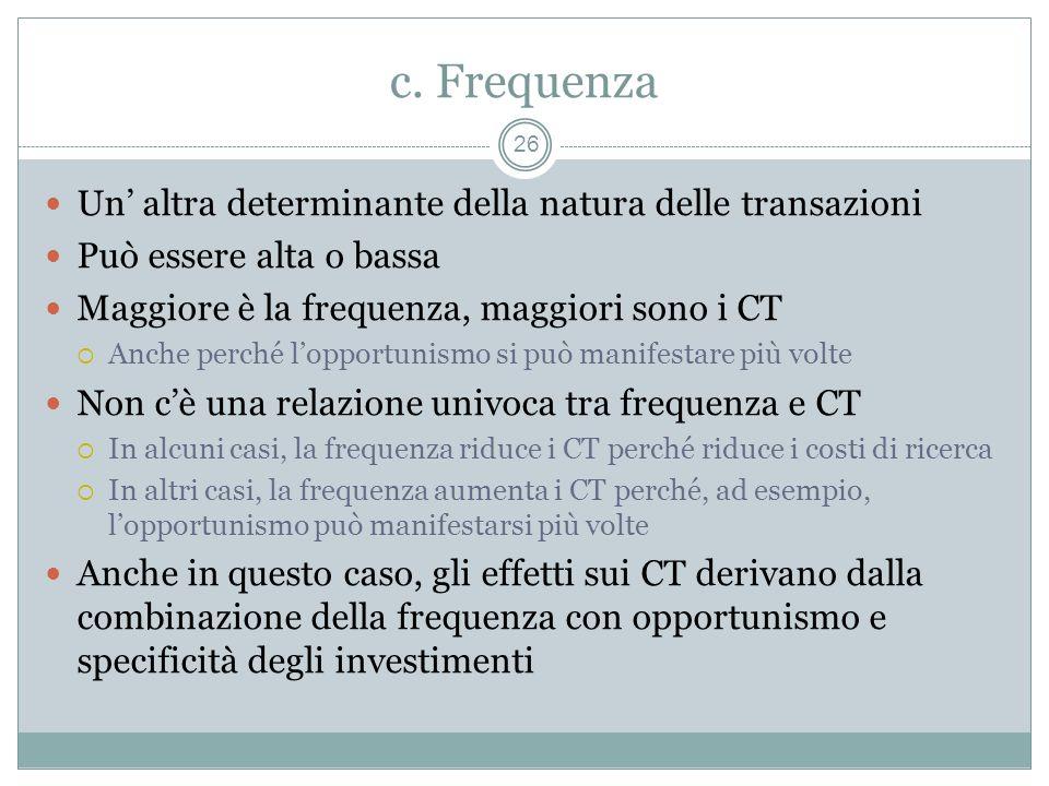 c. Frequenza Un altra determinante della natura delle transazioni Può essere alta o bassa Maggiore è la frequenza, maggiori sono i CT Anche perché lop