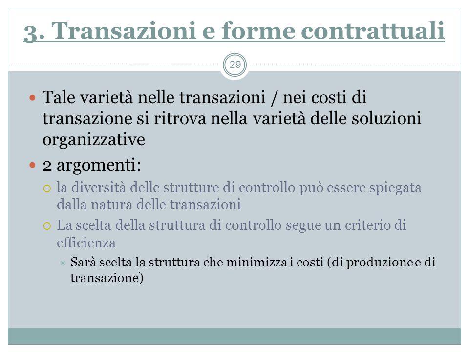 3. Transazioni e forme contrattuali Tale varietà nelle transazioni / nei costi di transazione si ritrova nella varietà delle soluzioni organizzative 2