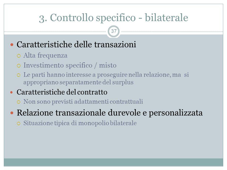 3. Controllo specifico - bilaterale Caratteristiche delle transazioni Alta frequenza Investimento specifico / misto Le parti hanno interesse a prosegu