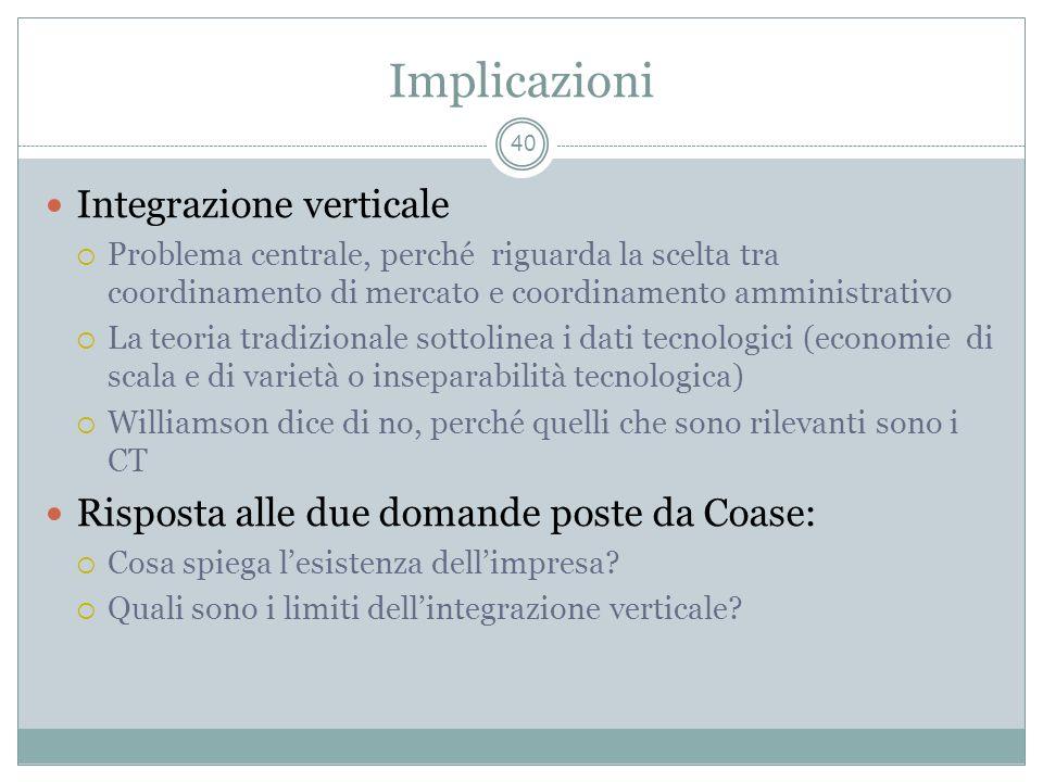 Implicazioni Integrazione verticale Problema centrale, perché riguarda la scelta tra coordinamento di mercato e coordinamento amministrativo La teoria