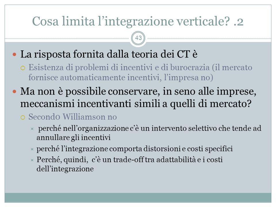 La risposta fornita dalla teoria dei CT è Esistenza di problemi di incentivi e di burocrazia (il mercato fornisce automaticamente incentivi, limpresa