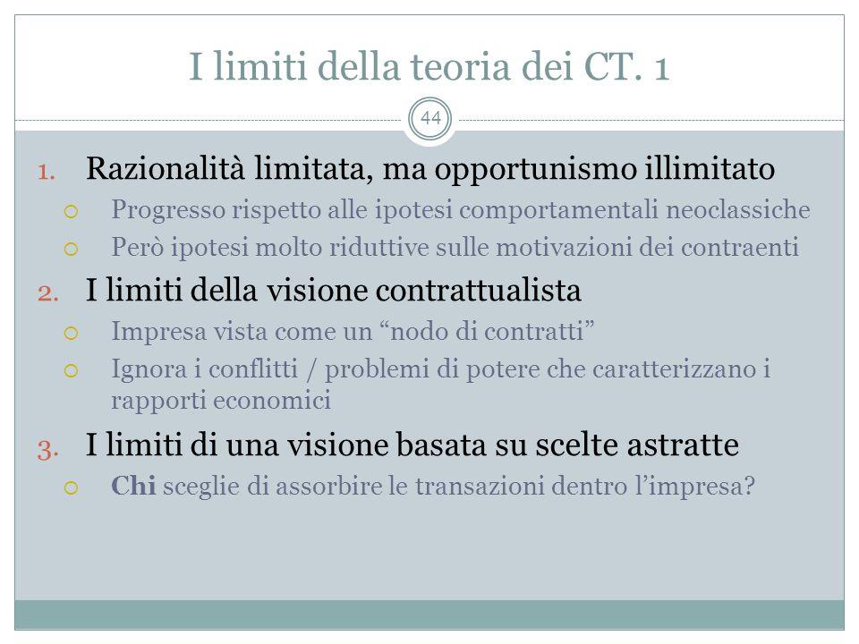 I limiti della teoria dei CT. 1 1. Razionalità limitata, ma opportunismo illimitato Progresso rispetto alle ipotesi comportamentali neoclassiche Però