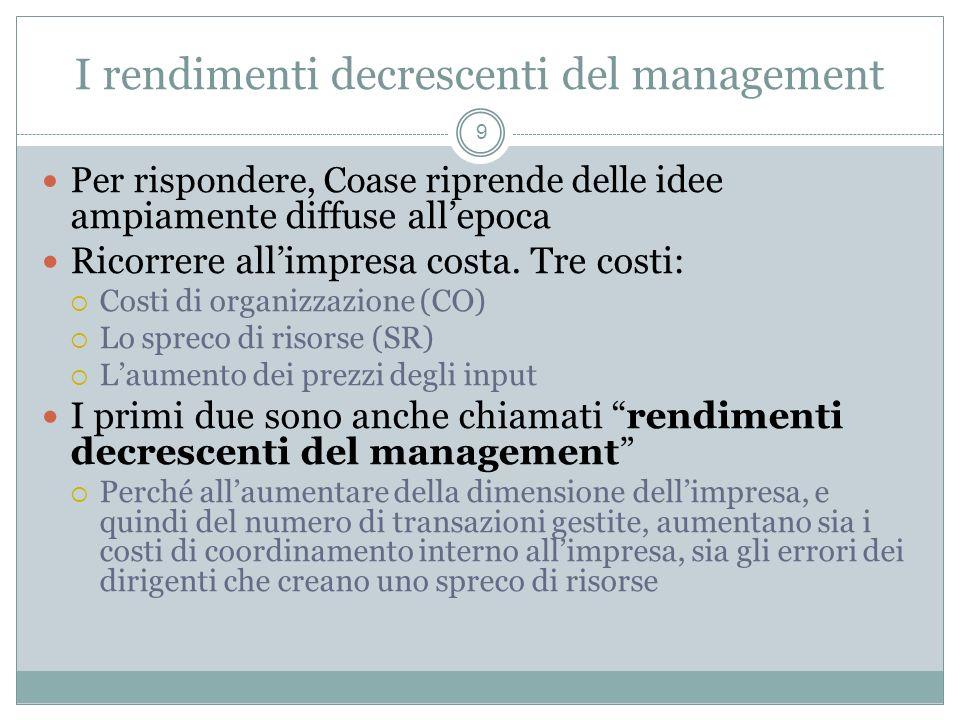 I rendimenti decrescenti del management Per rispondere, Coase riprende delle idee ampiamente diffuse allepoca Ricorrere allimpresa costa. Tre costi: C