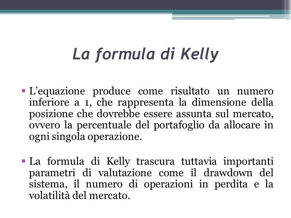 La formula di Kelly Lequazione produce come risultato un numero inferiore a 1, che rappresenta la dimensione della posizione che dovrebbe essere assunta sul mercato, ovvero la percentuale del portafoglio da allocare in ogni singola operazione.