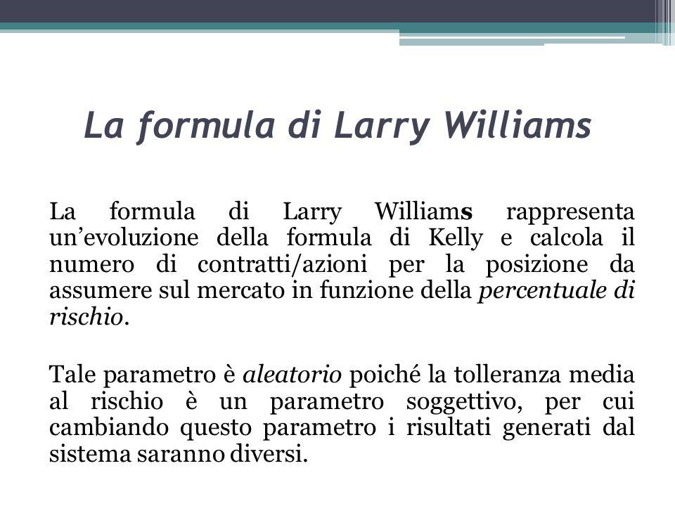 La formula di Larry Williams La formula di Larry Williams rappresenta unevoluzione della formula di Kelly e calcola il numero di contratti/azioni per la posizione da assumere sul mercato in funzione della percentuale di rischio.