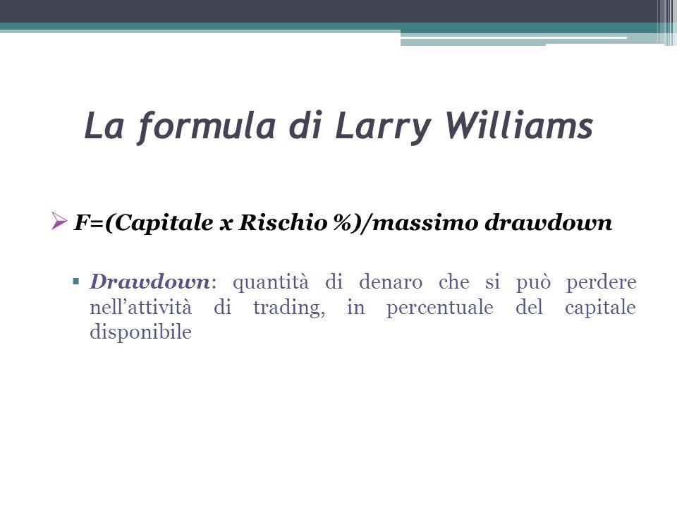 La formula di Larry Williams F=(Capitale x Rischio %)/massimo drawdown Drawdown: quantità di denaro che si può perdere nellattività di trading, in percentuale del capitale disponibile