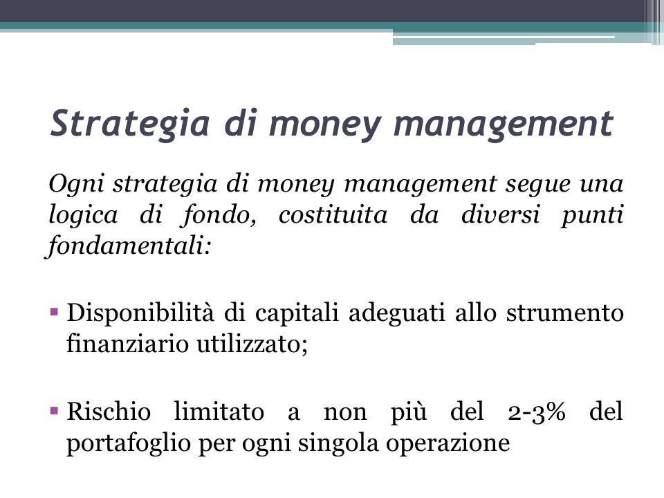 Strategia di money management Ogni strategia di money management segue una logica di fondo, costituita da diversi punti fondamentali: Disponibilità di capitali adeguati allo strumento finanziario utilizzato; Rischio limitato a non più del 2-3% del portafoglio per ogni singola operazione